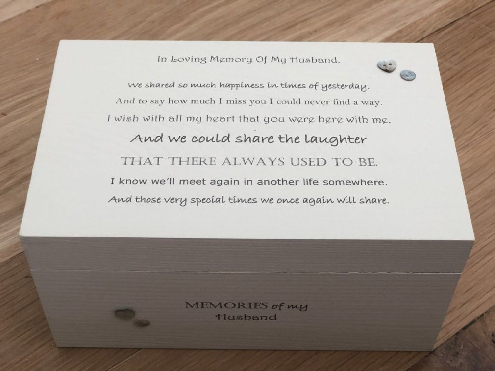 Personalised Large Box In Memory Of A Loved One Husband Or Any Name